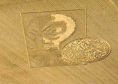 Огромная голова пришельца, появившаяся на поле в английском Винчестере в 2002 году