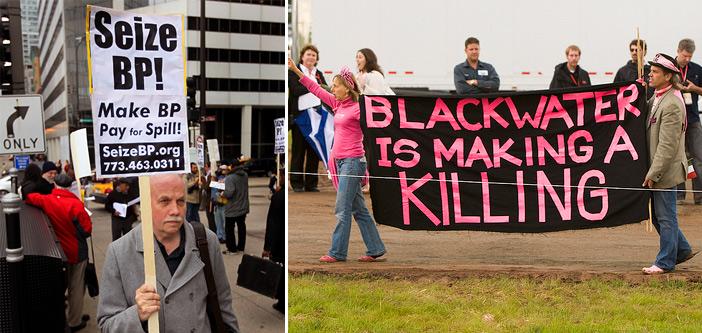 Движение «Захвати ВР!» [11] и транспарант со словами «Чёрная вода убивает», обыгрывающий двойной смысл названия «Blackwater»